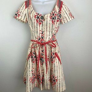Suno Flare Shirt Dress S Ivory Red Black Floral